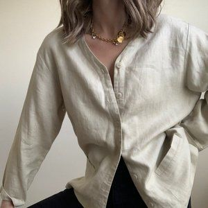 Vintage Tops - Vintage Linen Button Up Surprise Tunic Shirt